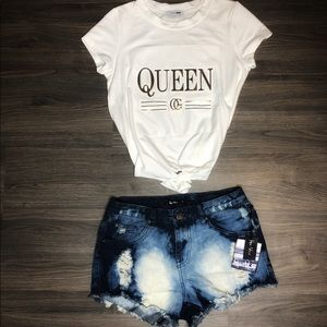 Full Outfit- White tee and jean shorts Brand New!